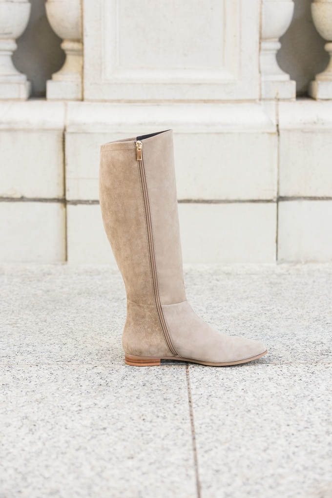 The Bedford flat boot in taupe gray