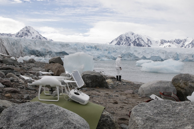 Image of and by artist Bethany Springer, experimenting onsite in the Arctic