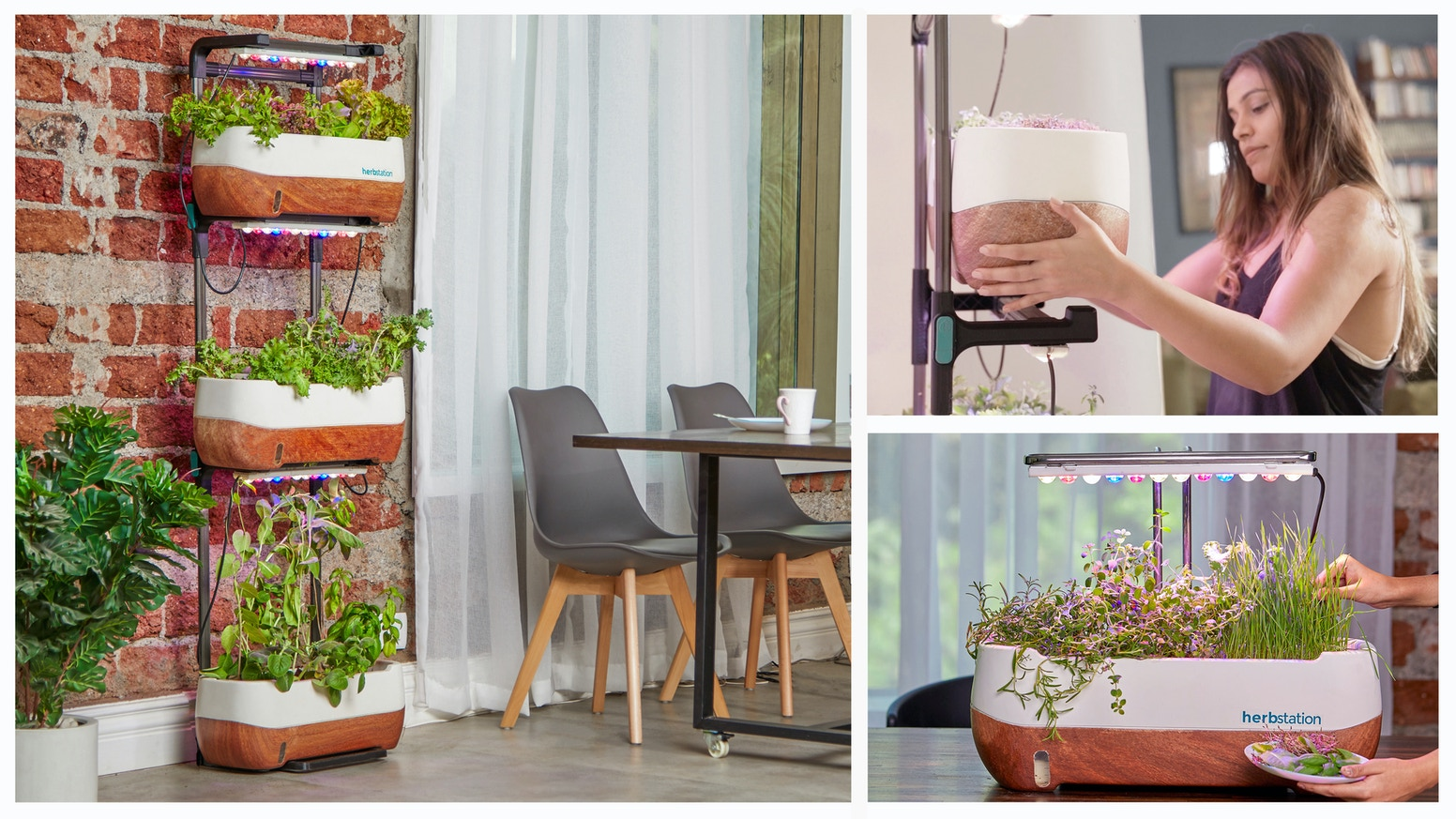 A compact & beautiful home farm that elevates your decor & grows fresh produce year-round, using garden soil or soil-less hydroponics.