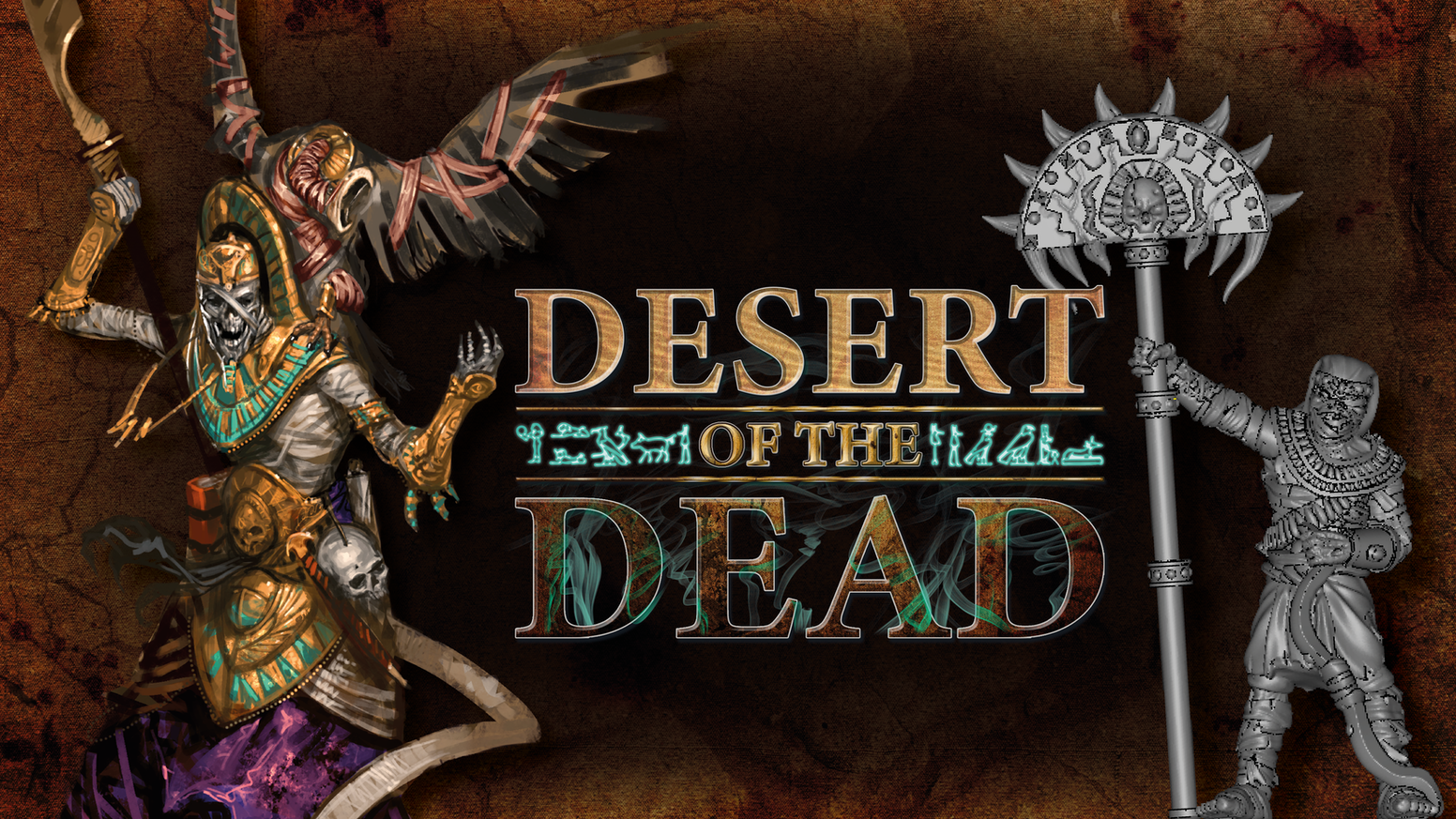 Mummies, elves, halflings and other fantasy miniatures from an undead desert.