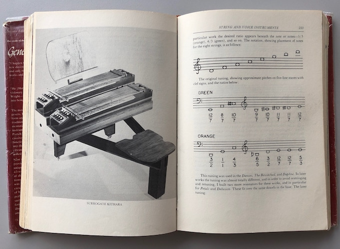 """Two pages from Partch's book """"Genesis Of A Music"""" (2nd ed., 1974) showing a photograph of the Surrogate Kithara, its notation and original tuning."""