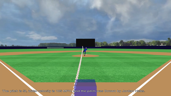 Position and orientation of the pitched ball after it is pitched.  The strike zone (blue box) is also shown. Depiction of a Jordan Hicks' sinker from the umpire's viewpoint is shown in the above screen capture.