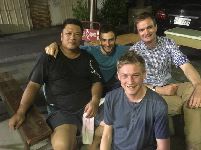 Dave, Joe and Alex at a Mid-Autumn holiday BBQ with our manufacturing partner in Taichung