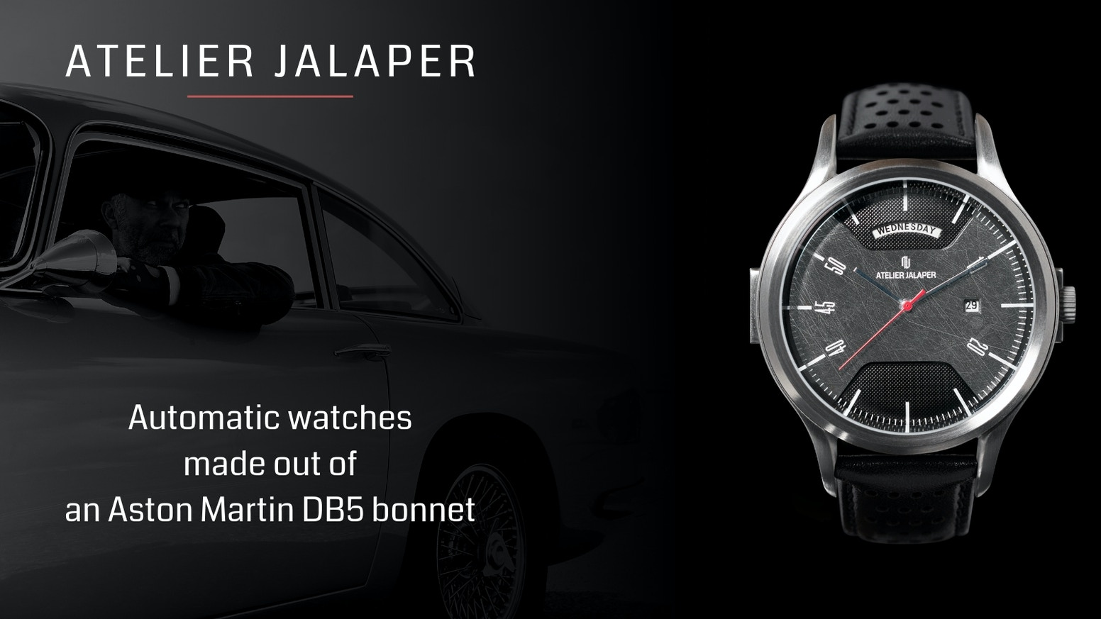 An automatic watch made out of authentic Aston Martin DB5 body parts
