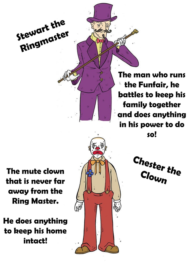 Stewart the Ringmaster and Chester the Clown
