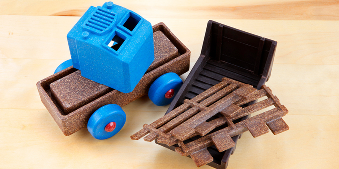 Our toys are 3D stacking puzzles that assemble to become trucks!