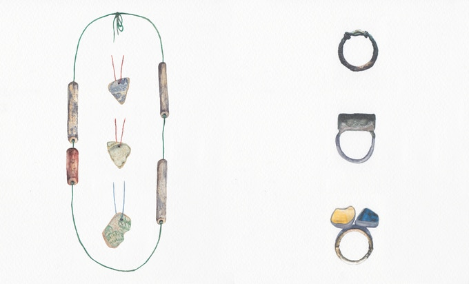 1. From left to right / top to bottom: Threaded Fragment Necklaces | Knot Ring | Curio Ring | Duo Ring