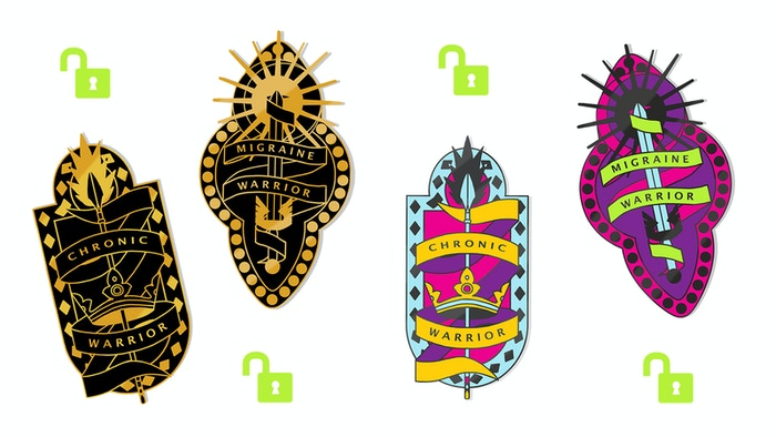 Enamel pin designs from Illustrator Abi Stevens, inspired by chronic and migraine warriors everywhere!