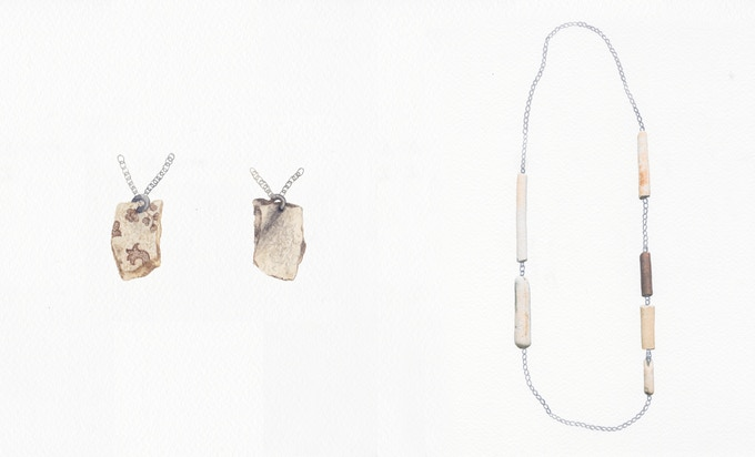 4. From left to right: Silver Fragment Necklace | Silver Pipe Necklace