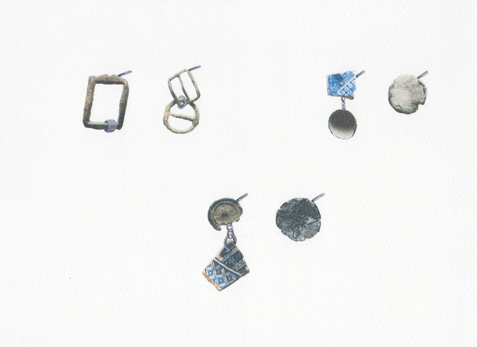5. From left to right / top to bottom: Links Earrings | Cup Earrings | Coin Earrings