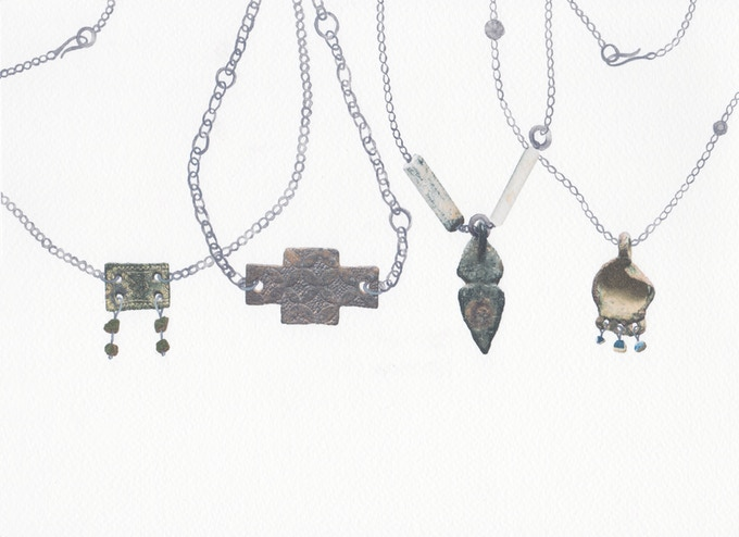 8. From left to right: Celtic Necklace | Saxony Necklace | Arrow Necklace | Luck Necklace