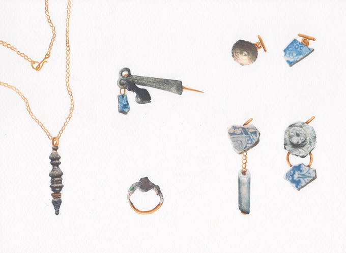 10. From left to right / top to bottom: Droplet Necklace | Charms Brooch | Leaf Ring | Saucer Cufflinks | Trinket Earrings