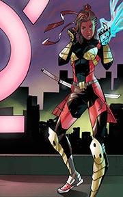 Nia Caler in full superhero costume