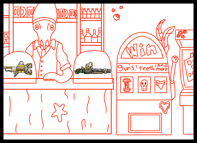 Sketch of the shop in the Open Ocean game mode.  The counter to purchase items or weapons (left) will have a character (currently a squid) sell the player goods.  The slot machine (right) will be for more random loot drops.