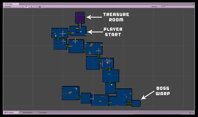 A 13 (10-15 RNG) room layout for our Open Ocean game mode.  This is using our current procedural generator tool and will be the main focus of development when we start to focus on this game mode.