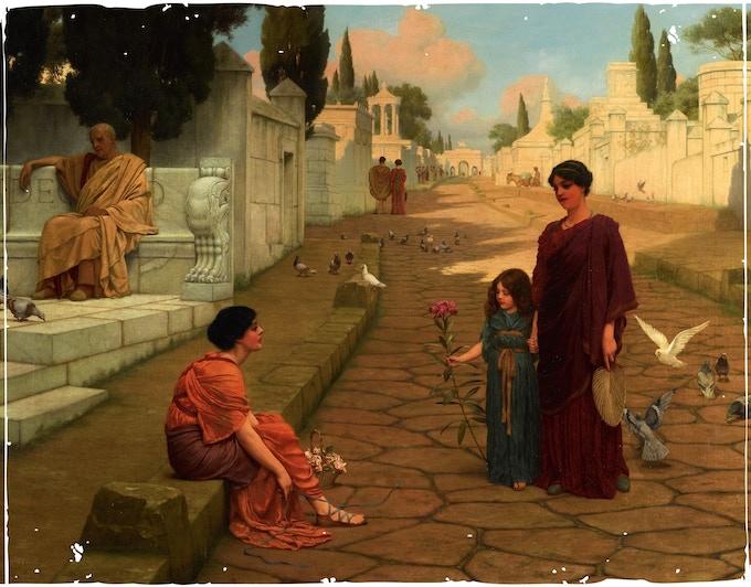 John William Godward - Outside the Gate of Pompeii (Public Domain Mark)