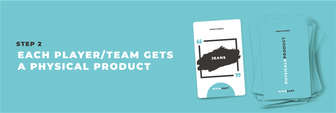 Each player/team will be given a product to pitch about