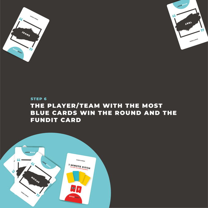 The aim of the game is to win the most FundIt cards, so if you have the most blue cards... you win the game and the bragging rights is all yours