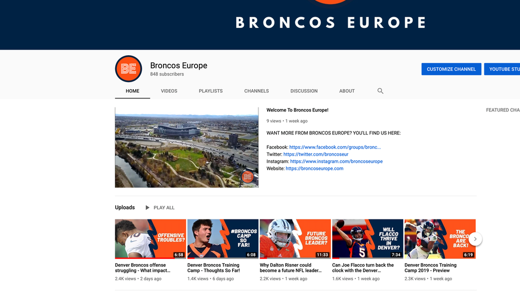 Broncos Europe Youtube: 2019 Kickstarter