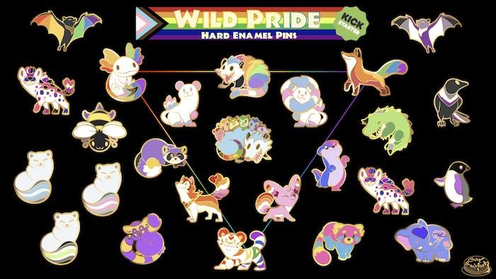 A set of enamel pins celebrating the LGBT+ identities and diversity in the Wild Pride Animal Kingdom. Missed the Kickstarter? Pre-orders below!