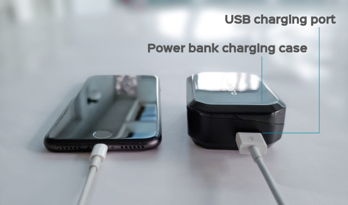 First earbuds charging case on Kickstarter with a power bank 3500mAh built-in battery!