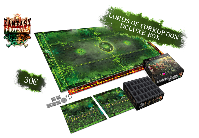 Deluxe Box includes a 2 sided pitch, 2 reversible dugouts and a foam tray to storage and carry your miniatures.