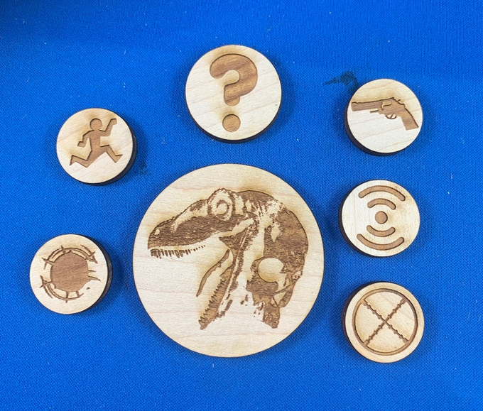 Token set includes 81 tokens made out of 4.5mm maple, and are manufactured by Six Squared Studios