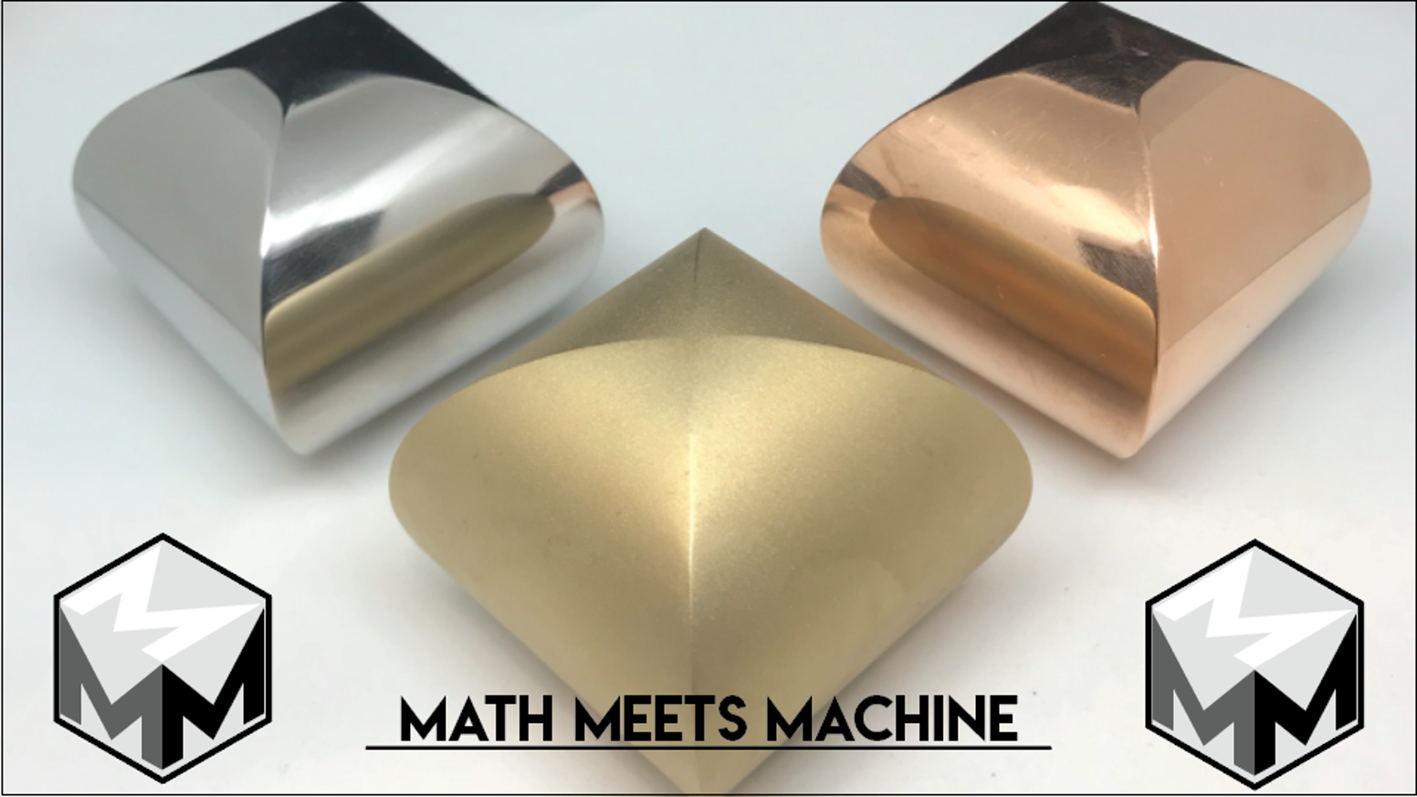 We are back with Steinmetz Solids, Meissner Tetrahedrons, and Mobius Strips CNC machined to be part of our beautiful math collection.