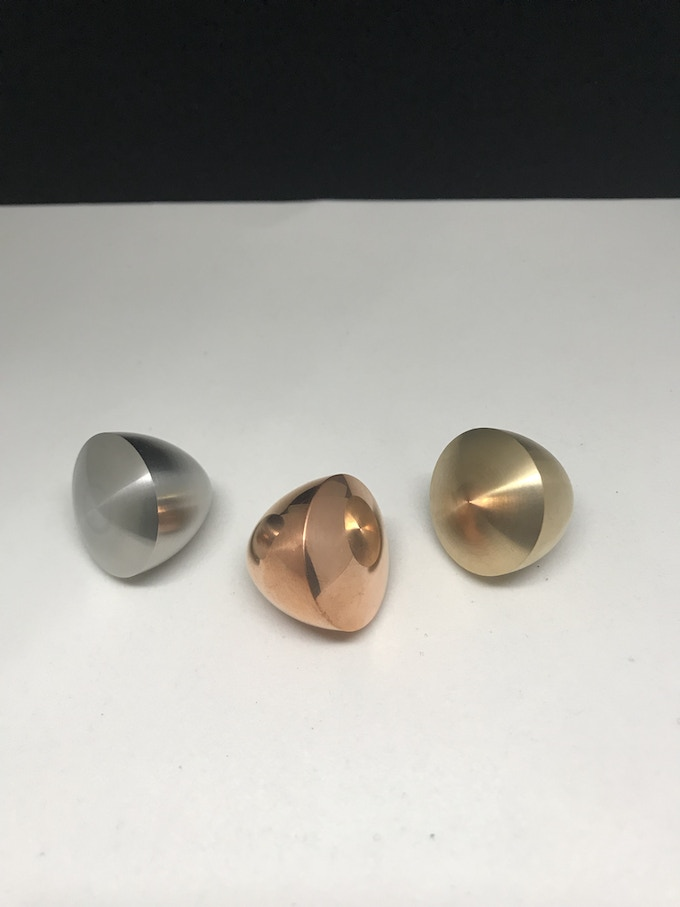 Three 3LOs: Machined stainless steel, polished copper, and machined brass