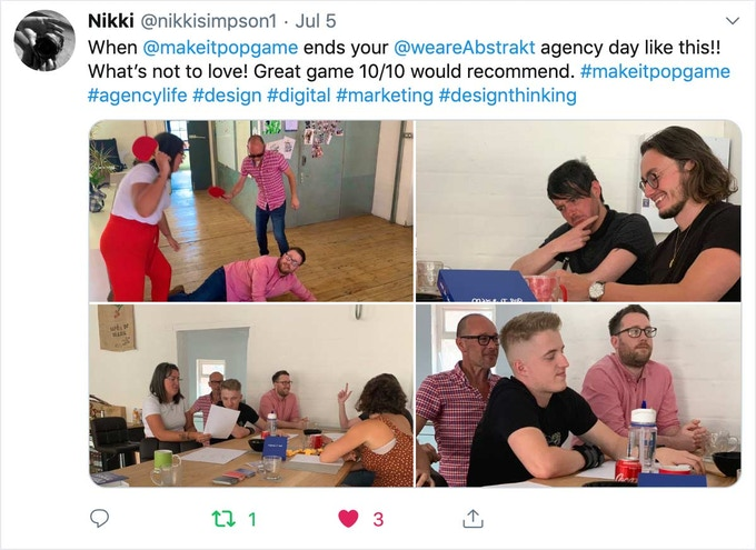 When  @makeitpopgame  ends your  @weareAbstrakt  agency day like this!! What's not to love! Great game 10/10 would recommend. #makeitpopgame #agencylife #design #digital #marketing #designthinking