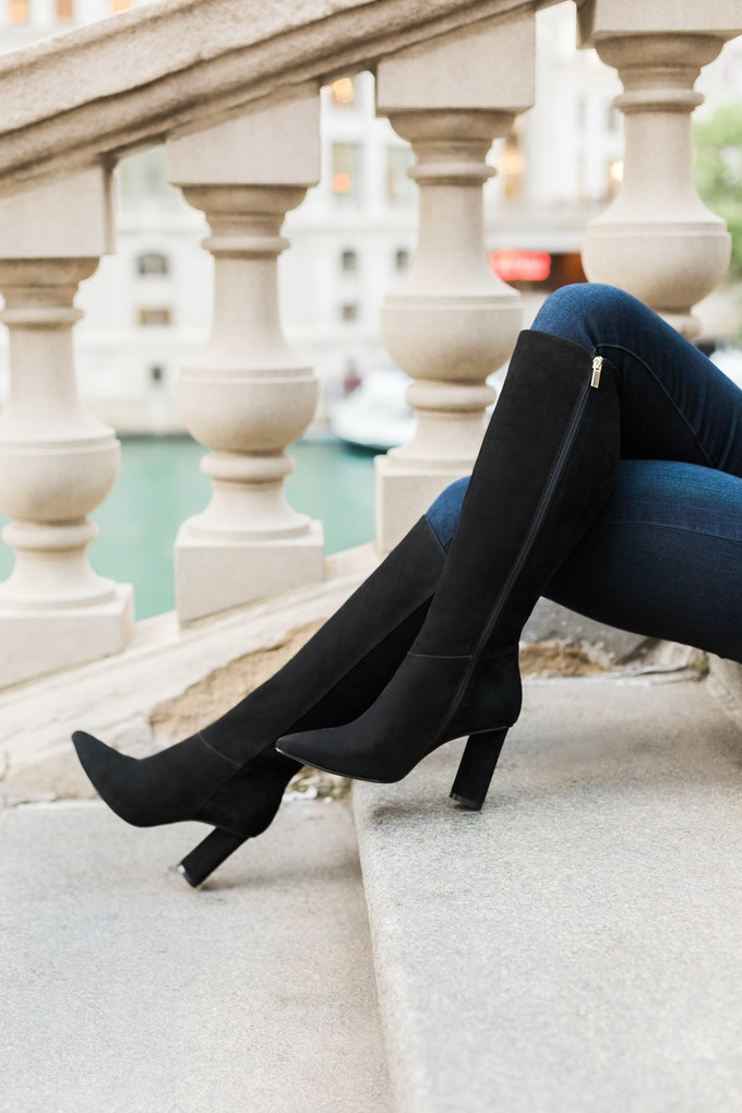 The Melrose, our high heel boot in black suede