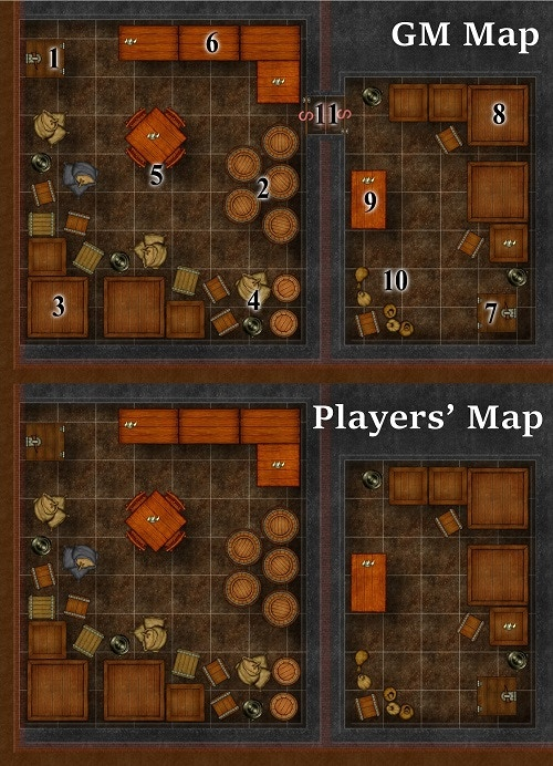 Player-Redaction Mapping Example: Tavern & Inn Basements (from Dark Obelisk 1: Berinncorte)