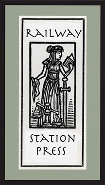 The Railway Station Press logo with the woodcut by Christopher Manson.