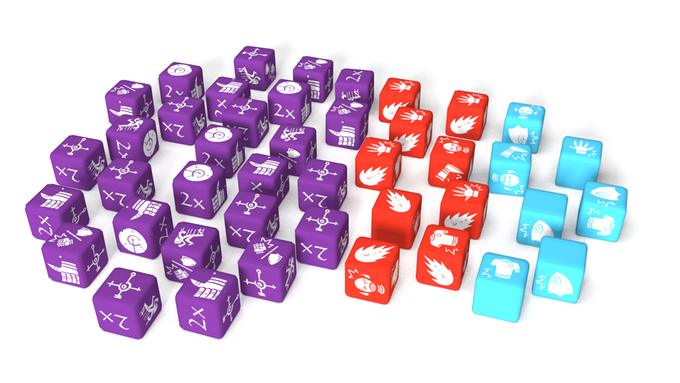 40 engraved custom dice are included in the box