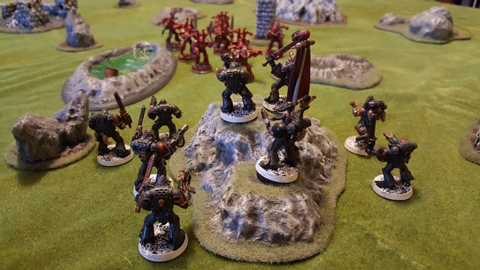 rocky outcrop occupied by some Space Wolves