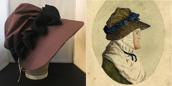 "The ""Mrs Ogee"" bonnet in a custom color,  based on a 1776 print at the British Museum."
