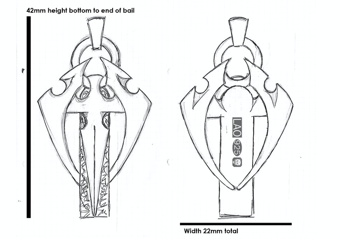 Original drawings with a rough guide of where the hallmark will be located