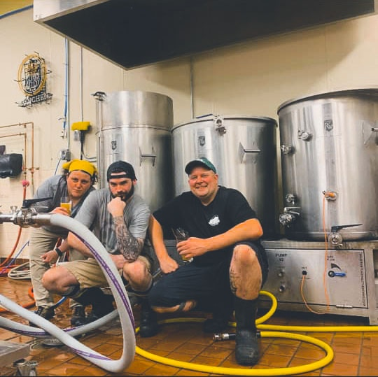 Lisa and Dana brewing with fellow brewer and Skyline family member, Mark Avery of Two Weeks Notice Brewing Company.