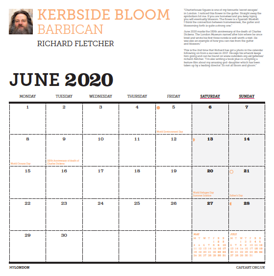The month page features a profile shot of the photographer. This year we have increased the size of the numbers and also moved Sunday to the end of the week.