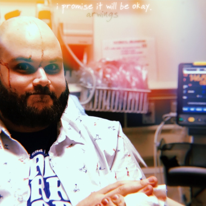 Album art! Photo Credit: My boss, Justin Drobinski, who accompanied me to the ER when I bashed my head open and obtained 8 stitches in my head last summer.