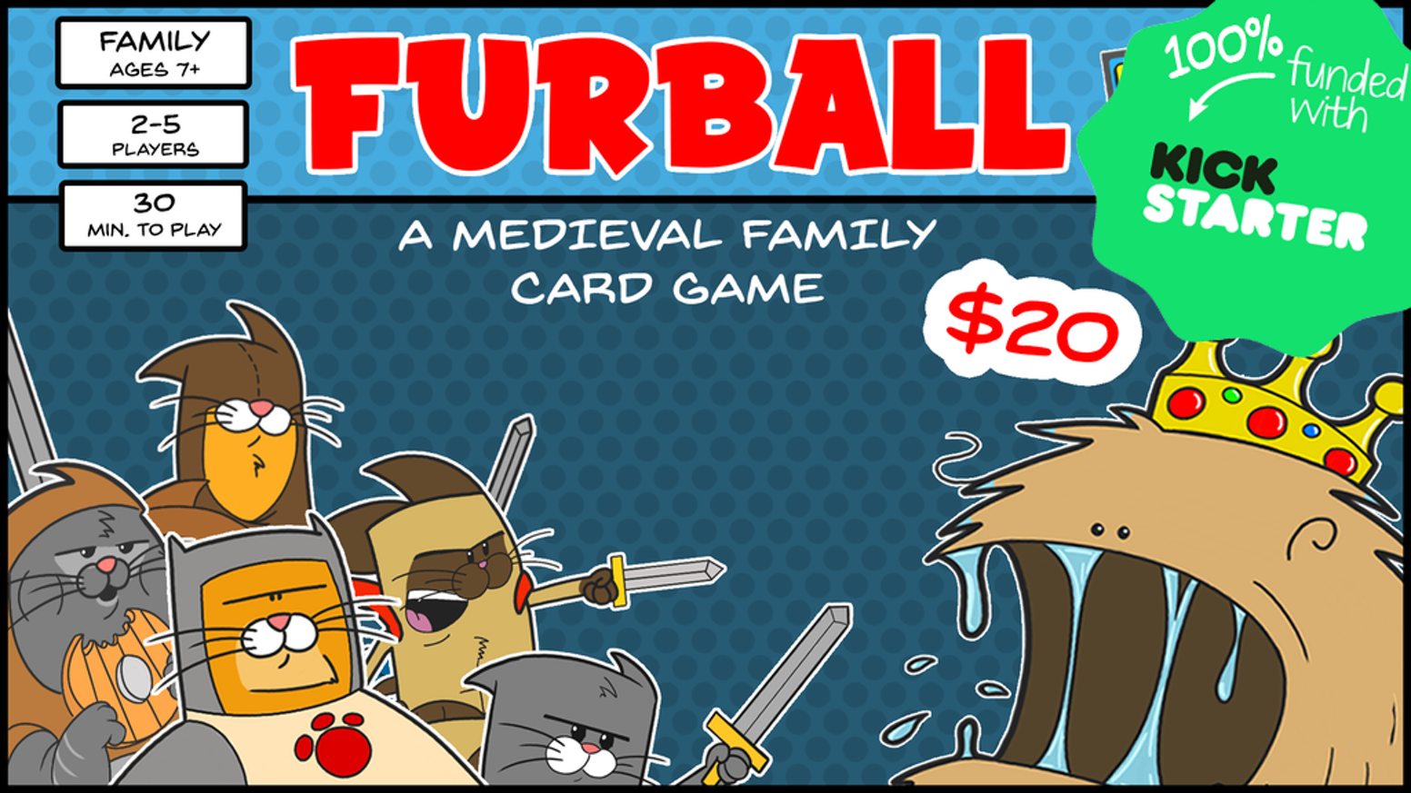 Take on the role of a heroic cat to save the kingdom from dangerous creatures in this humorous family card game. 2-5 players, <30 min.