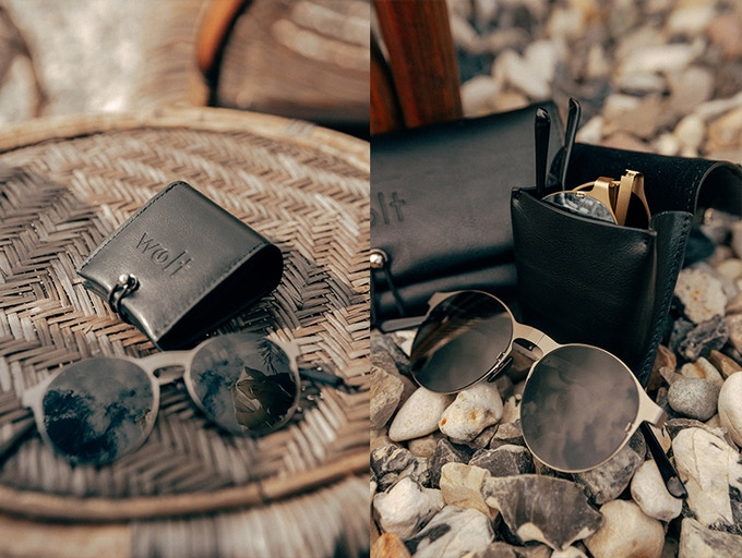 Every pair of Eclipse sunglasses comes with a leather case with room for 1 pair of sunglasses, one pair of extra lenses and our bluetooth tracker.