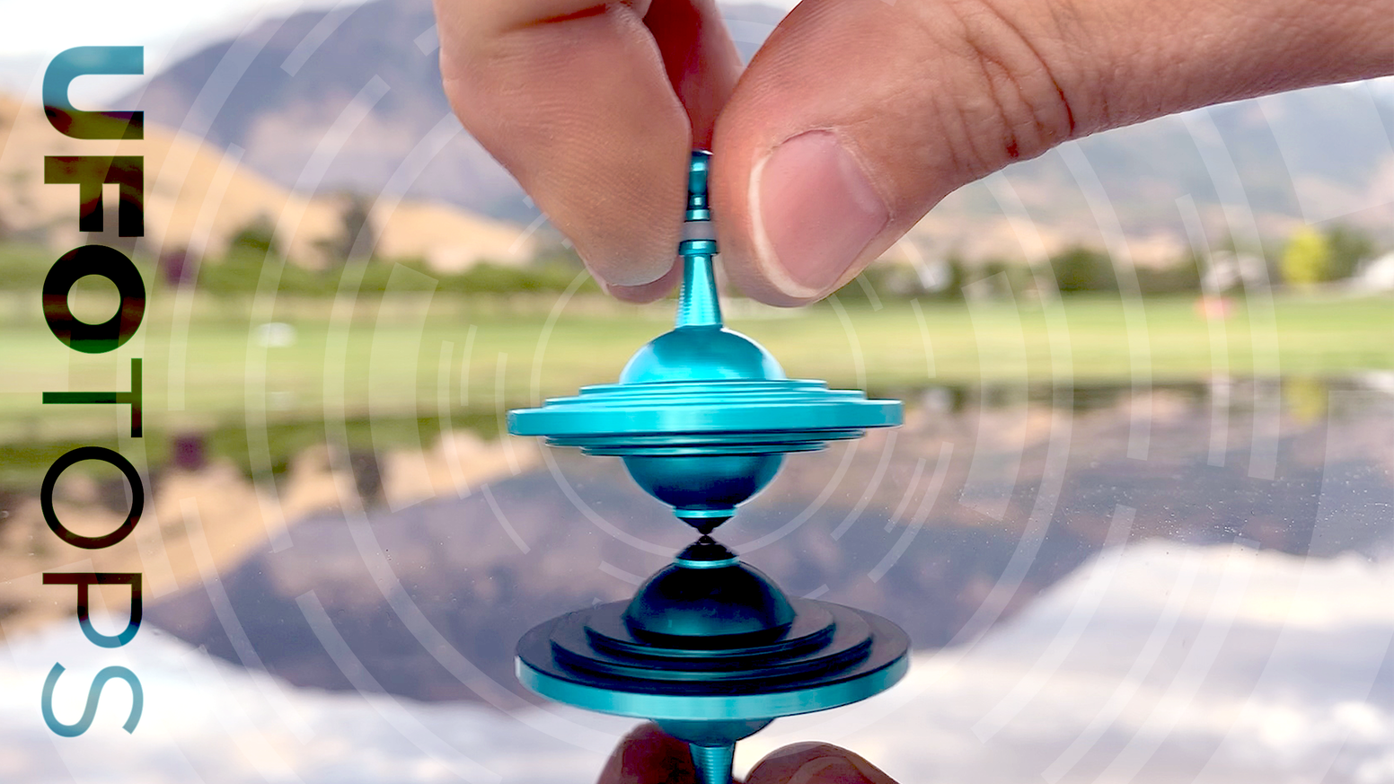 Metal spinning top with enhanced spin grip & ceramic ball tip to produce long spin times. Based on documented UFO sightings!