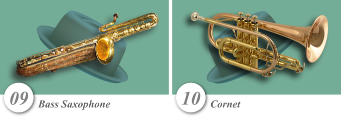No. 09—Bass Saxophone • No. 10—Cornet