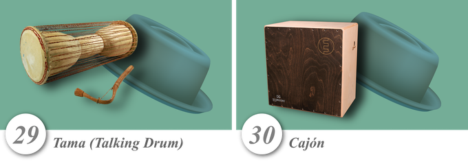No. 29—Tama (Talking Drum) • No. 30—Cajón