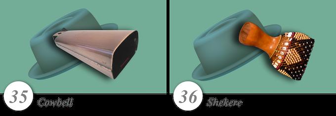 No. 35—Cowbell • No. 36—Shekere