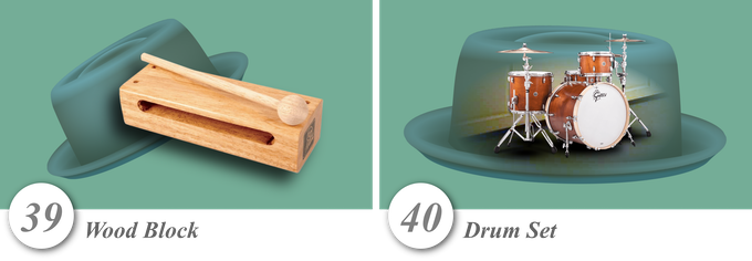No. 39—Wood Block • No. 40—Drum Set
