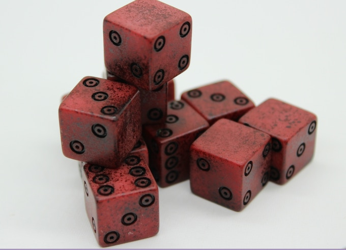 The pre-production sample of our red dice. Please don't mind that some of them are missing the eyes. This will be fixed in the final version ;)