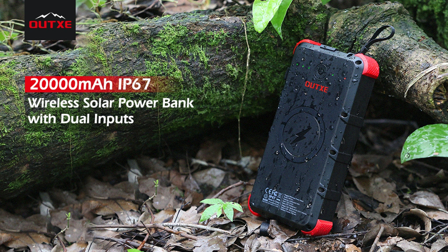 IP67 Waterproof & Dustproof & Rugged| Wireless Charging | Solar Power Supply | 20000mAh | Smart Quick Charge Output | 6.5 hours Full Recharge