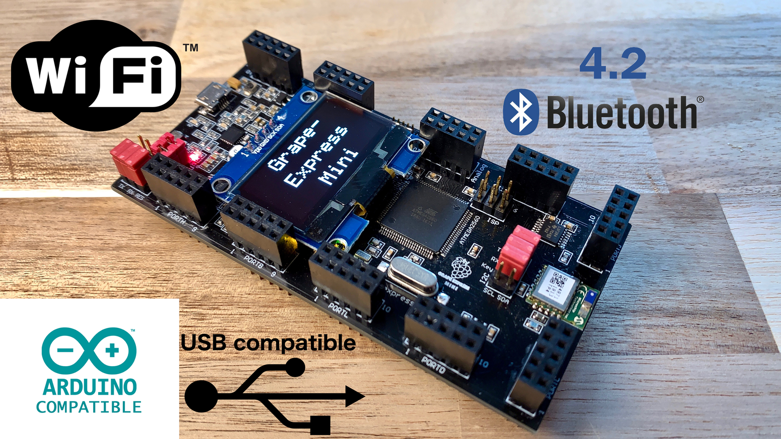 The powerful Grape-Express Mini development board with Bluetooth 4.2, Wifi, OLED Display and internal power supply